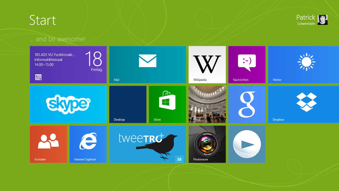Der Windows 8 Startscreen.