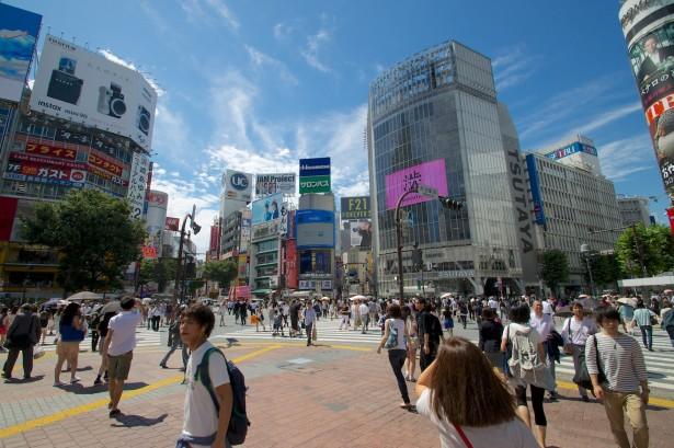 Die große Kreuzung in Shibuya.